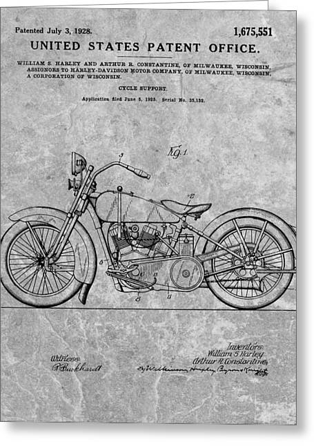 Dealership Greeting Cards - 1928 Harley Motorcycle Patent Charcoal Greeting Card by Dan Sproul