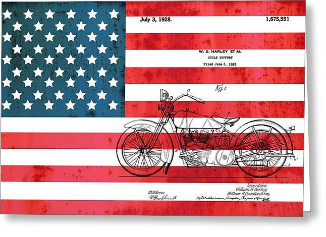 Red White And Blue Mixed Media Greeting Cards - 1928 Harley Patent American Flag Greeting Card by Dan Sproul