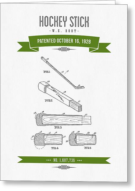 Hockey Player Greeting Cards - 1928 Hockey Stick Patent Drawing - Retro Green Greeting Card by Aged Pixel