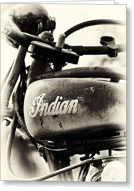 Unrestored Greeting Cards - 1928 Indian 101 Scout Motorcycle Greeting Card by Tim Gainey