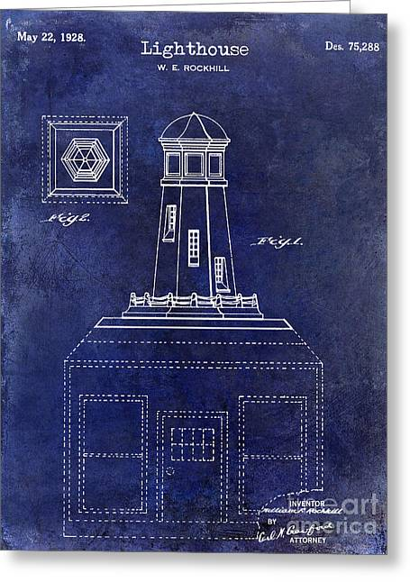 1928 Greeting Cards - 1928 Lighthouse Patent Drawing Blue Greeting Card by Jon Neidert