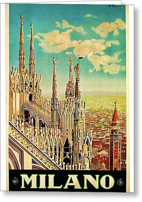 Country Church Mixed Media Greeting Cards - 1928 MILANO - Vintage travel Art Greeting Card by Presented By American Classic Art
