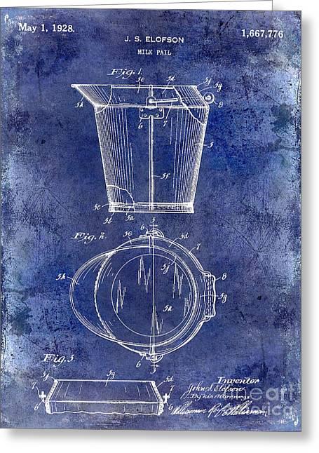 1928 Milk Pail Patent Drawing Blue Greeting Card by Jon Neidert