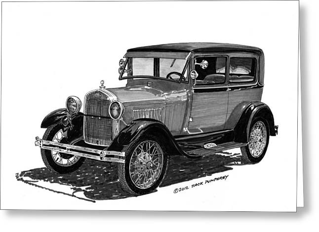 1928 Model A Ford 2 dr Sedan Greeting Card by Jack Pumphrey