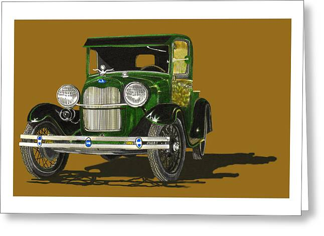 Old And New Paintings Greeting Cards - 1928 Model A Pick Up Truck Greeting Card by Jack Pumphrey