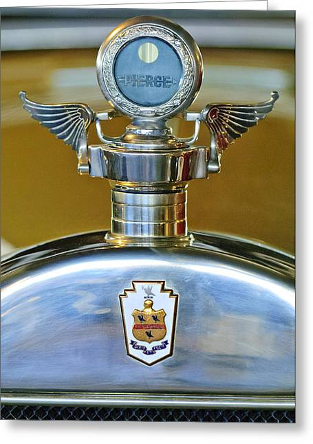 Vintage Hood Ornament Greeting Cards - 1928 Pierce-Arrow Hood Ornament Greeting Card by Jill Reger