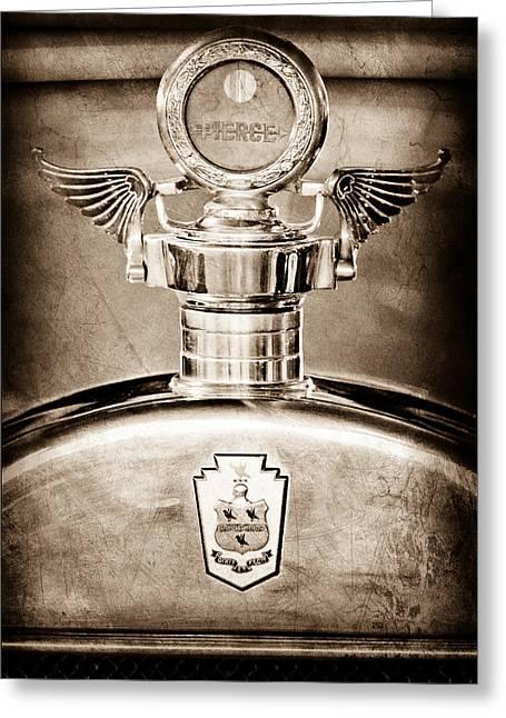 Motometer Greeting Cards - 1928 Pierce-Arrow Hood Ornament - Moto Meter Greeting Card by Jill Reger