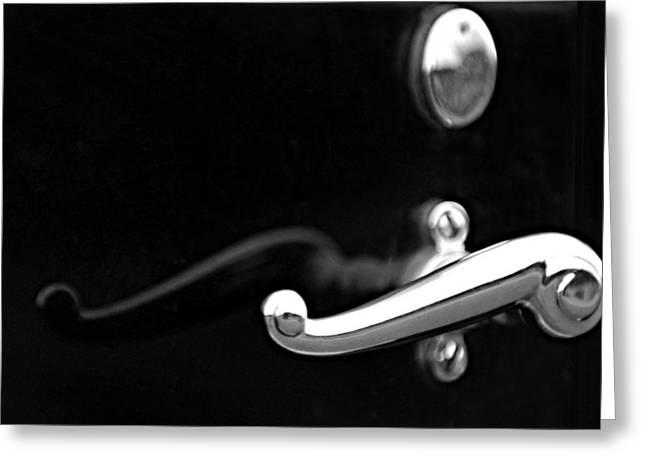 Handle Greeting Cards - 1928 Rolls-Royce Phantom 1 Door Handle Black and White Greeting Card by Jill Reger
