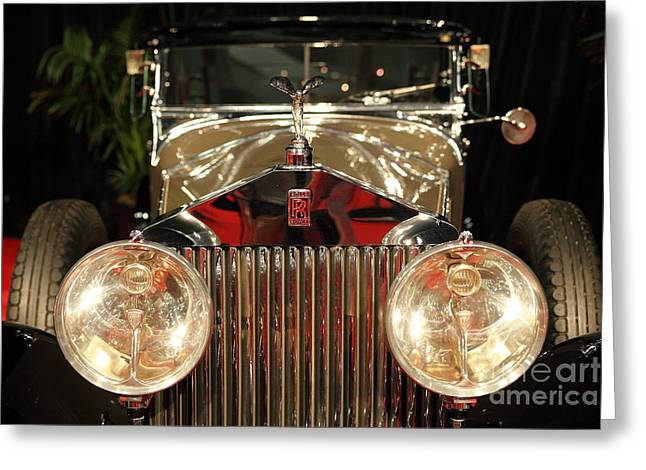 English Car Greeting Cards - 1928 Rolls Royce Phantom 1 Riviera Town Car 5D26653 Greeting Card by Wingsdomain Art and Photography