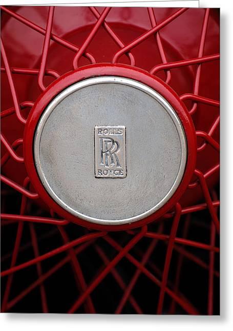 1928 Greeting Cards - 1928 Rolls-Royce Phantom I Sedenca de Ville Wheel Emblem Greeting Card by Jill Reger
