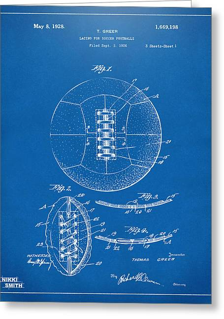 Football Art Greeting Cards - 1928 Soccer Ball Lacing Patent Artwork - Blueprint Greeting Card by Nikki Marie Smith