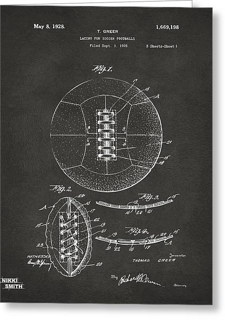 Football Art Greeting Cards - 1928 Soccer Ball Lacing Patent Artwork - Gray Greeting Card by Nikki Marie Smith