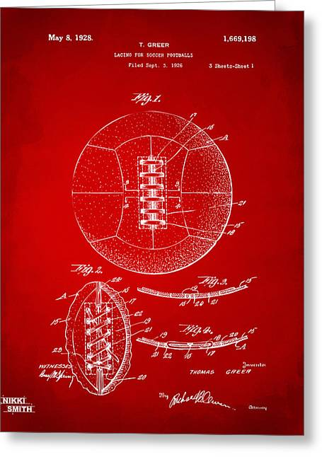 Football Art Greeting Cards - 1928 Soccer Ball Lacing Patent Artwork - Red Greeting Card by Nikki Marie Smith