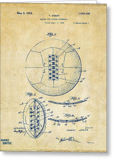 Sports Fan Greeting Cards - 1928 Soccer Ball Lacing Patent Artwork - Vintage Greeting Card by Nikki Marie Smith