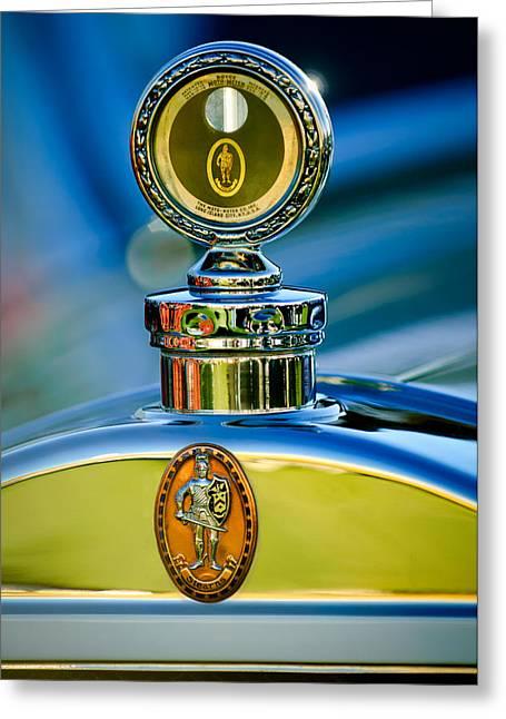 1928 Greeting Cards - 1928 Sterns-Knight Roadster  Hood Ornament - Emblem -0895c Greeting Card by Jill Reger