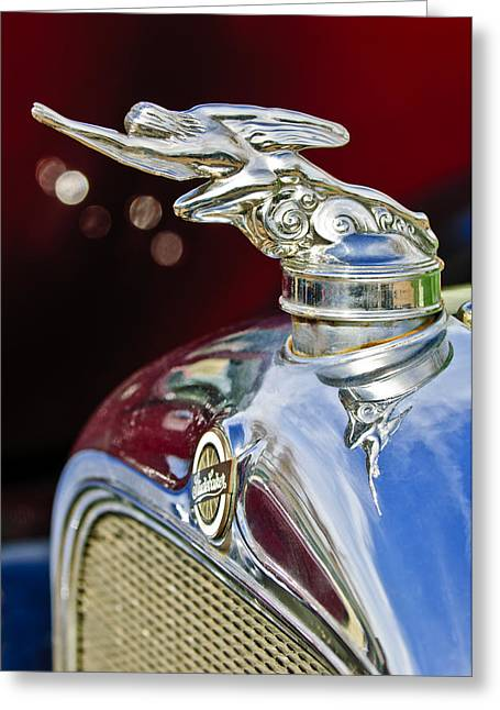 1928 Studebaker Hood Ornament 2 Greeting Card by Jill Reger