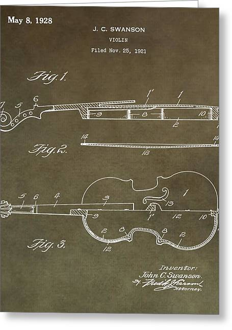 Violin Bows Violin Bows Greeting Cards - 1928 Violin Patent Greeting Card by Dan Sproul