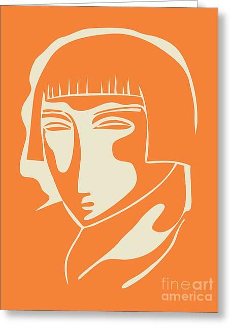 1928 Woman Face   Orange Greeting Card by Igor Kislev