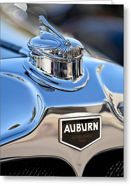 Vintage Hood Ornament Greeting Cards - 1929 Auburn 8-90 Speedster Hood Ornament Greeting Card by Jill Reger