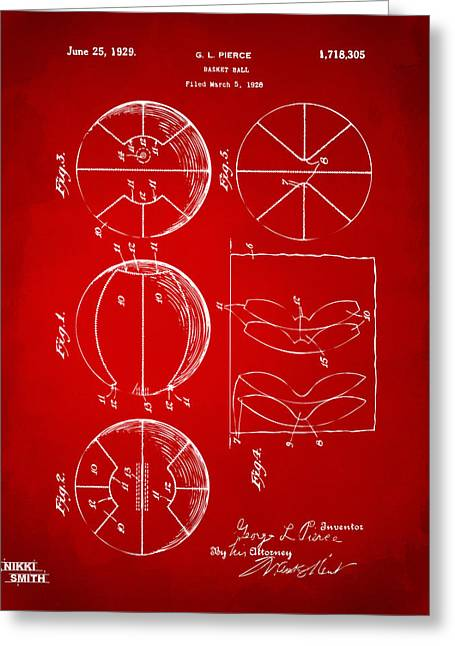 Ball Room Greeting Cards - 1929 Basketball Patent Artwork - Red Greeting Card by Nikki Marie Smith