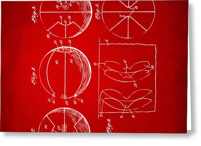 1929 Basketball Patent Artwork - Red Greeting Card by Nikki Marie Smith