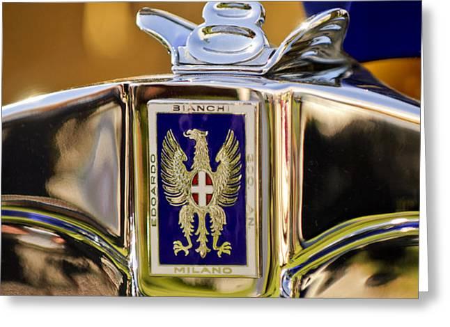 1929 Bianchi S8 Graber Cabriolet Hood Ornament and Emblem Greeting Card by Jill Reger