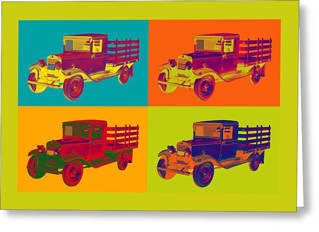 Chevrolet Pickup Truck Digital Greeting Cards - 1929 Blue chevy truck 1 ton Pop Art Greeting Card by Keith Webber Jr