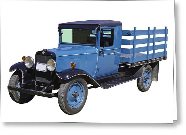 Chevy Pickup Truck Greeting Cards - 1929 Blue chevy truck 1 ton stake Body Greeting Card by Keith Webber Jr