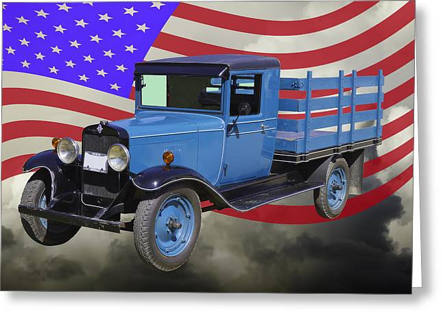 Pick-ups Greeting Cards - 1929 Blue chevy truck And American Flag Greeting Card by Keith Webber Jr