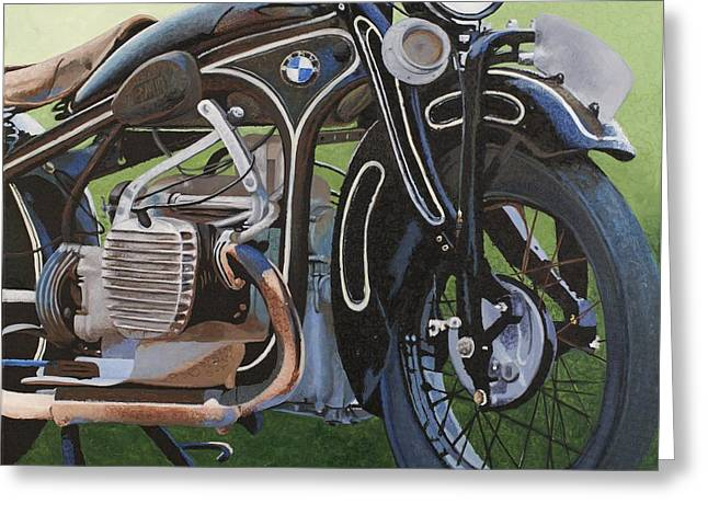 Motorcycles Pastels Greeting Cards - 1929 Bmw R11 Greeting Card by C Ryan Pierce