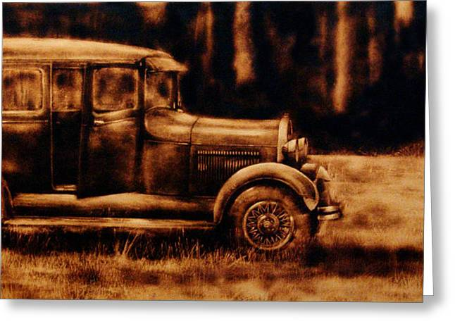 Ford Model T Car Paintings Greeting Cards - 1929 - Burnt wood deep etching of an antique car Greeting Card by Kanayo Ede