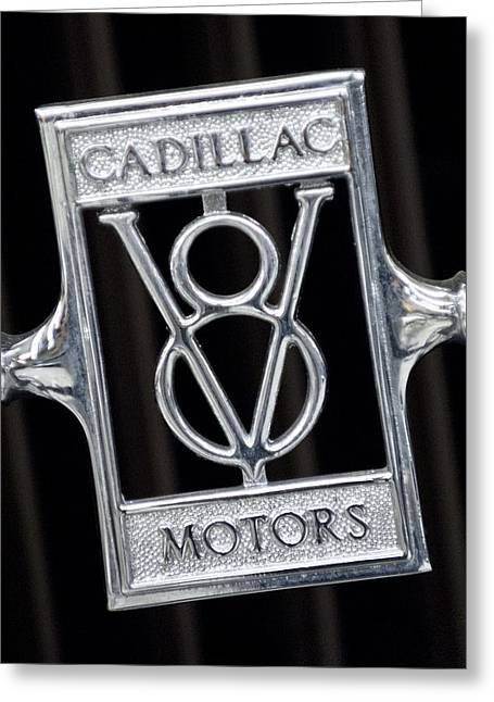 Cowling Greeting Cards - 1929 Cadillac Dual-Cowl Phaeton Emblem Greeting Card by Jill Reger