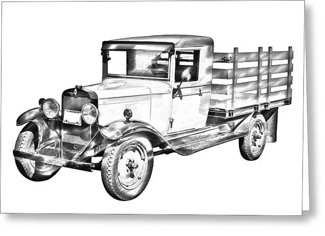 Stake Greeting Cards - 1929 chevy truck 1 ton stake Body Drawing Greeting Card by Keith Webber Jr