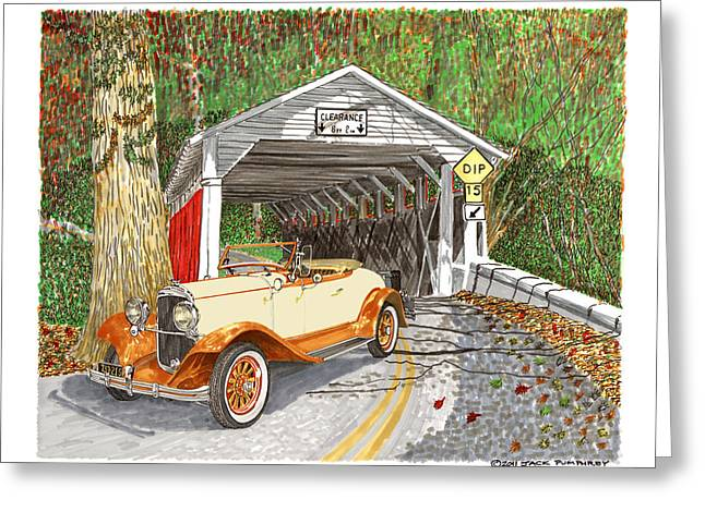 Indiana Autumn Drawings Greeting Cards - 1929 Chrysler 65 Covered Bridge Greeting Card by Jack Pumphrey