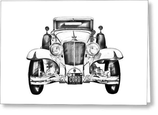 Cord Greeting Cards - 1929 Cord 6-29 Cabriolet Antique Car Illustration Greeting Card by Keith Webber Jr