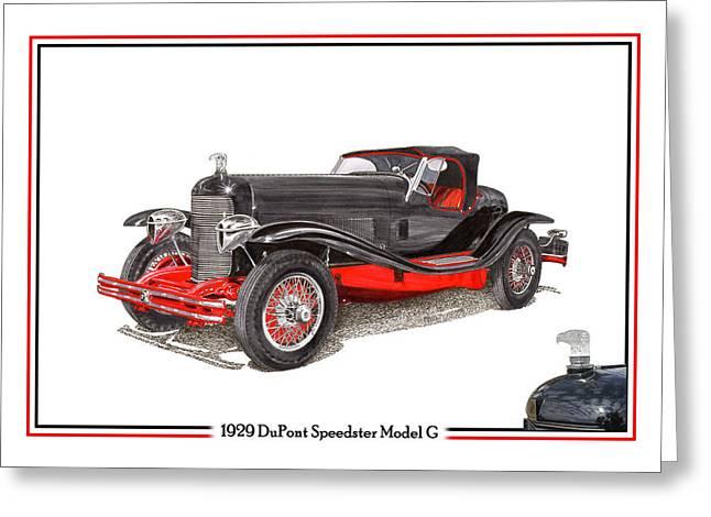 Fame Drawings Greeting Cards - 1929 Du Pont Speedster Model G  Greeting Card by Jack Pumphrey