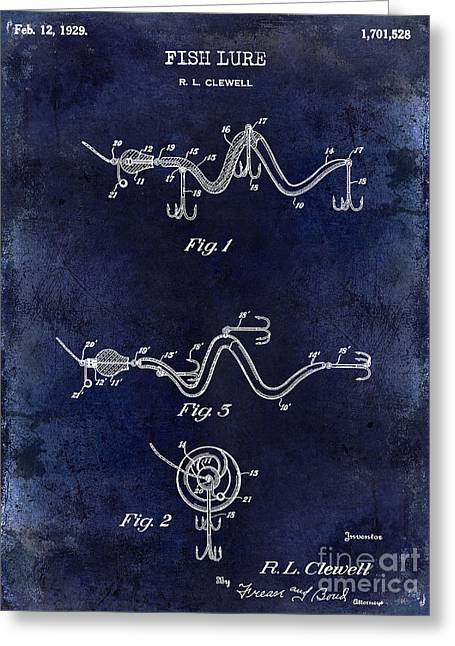 Port Fish Greeting Cards - 1929 Fish Lure Patent Drawing Blue Greeting Card by Jon Neidert