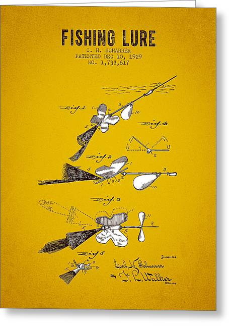 Tackle Greeting Cards - 1929 Fishing Lure Patent - Yellow Brown Greeting Card by Aged Pixel