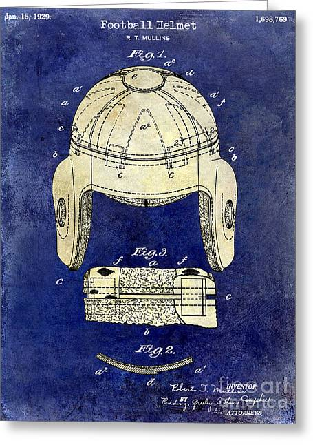 Ny Jets Greeting Cards - 1929 Football Helmet Patent Drawing 2 Tone Blue Greeting Card by Jon Neidert