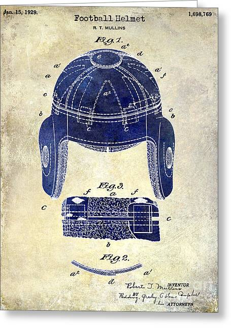 Fantasy Football Greeting Cards - 1929 Football Helmet Patent Drawing 2 Tone Greeting Card by Jon Neidert