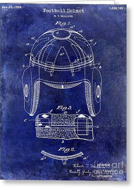 Ny Jets Greeting Cards - 1929 Football Helmet Patent Drawing Blue Greeting Card by Jon Neidert