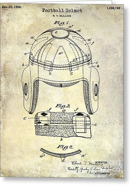 Broncos Greeting Cards - 1929 Football Helmet Patent Drawing Greeting Card by Jon Neidert