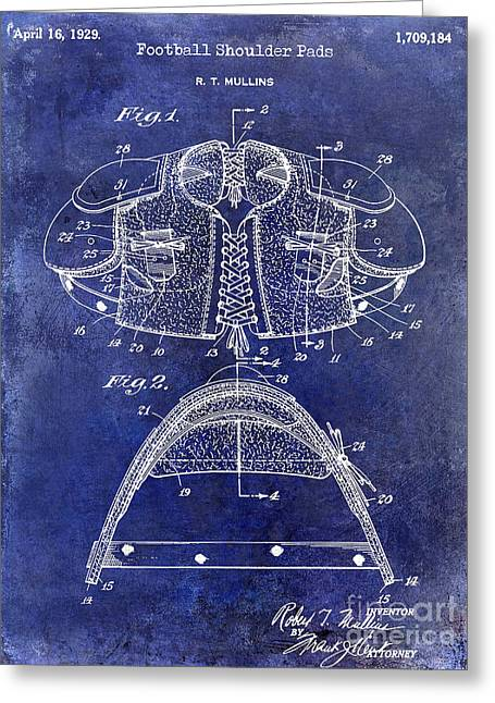 Ny Jets Greeting Cards - 1929 Football Shoulder Pads Patent Drawing Blue Greeting Card by Jon Neidert