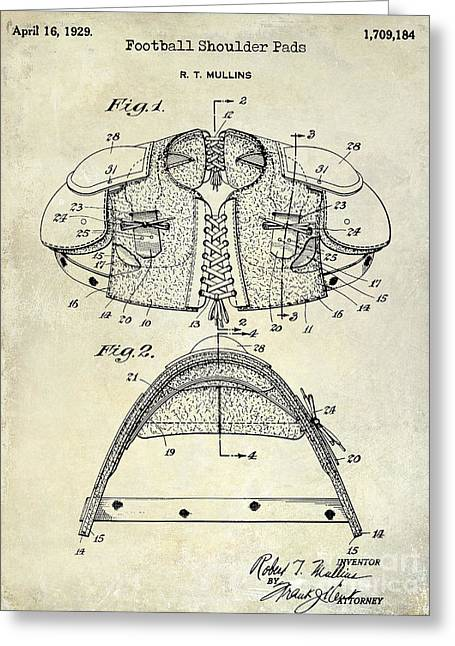 Fantasy Football Greeting Cards - 1929 Football Shoulder Pads Patent Drawing Greeting Card by Jon Neidert