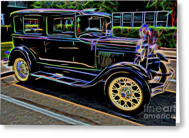 Decadence Greeting Cards - 1929 Ford Model A - Antique Car Greeting Card by Gary Whitton