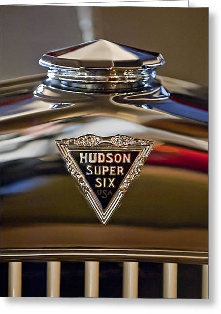 Mascot Photographs Greeting Cards - 1929 Hudson Cabriolet Hood Ornament Greeting Card by Jill Reger