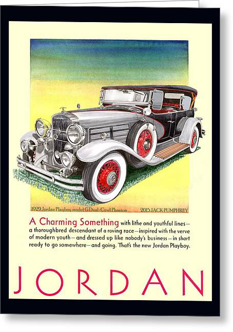 Vanity Fair Greeting Cards - 1929 Jordan Model G Vintage ad Greeting Card by Jack Pumphrey