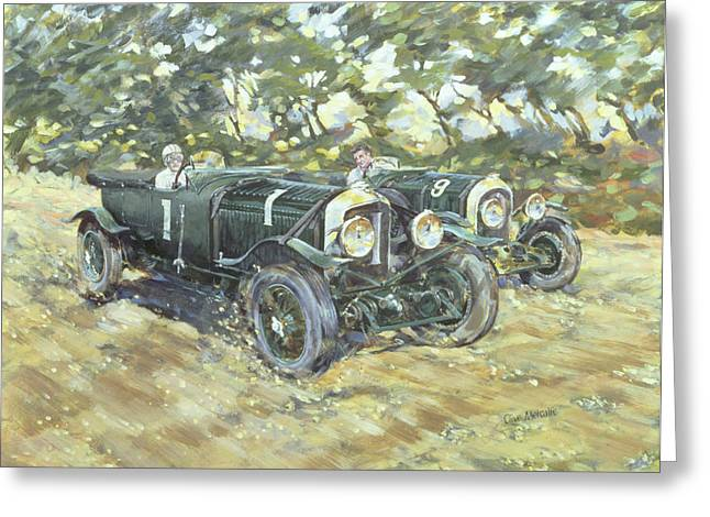 Rich Countries Greeting Cards - 1929 Le Mans Winning Bentleys Greeting Card by Clive Metcalfe