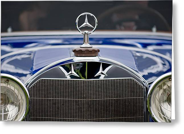 Collector Hood Ornament Greeting Cards - 1929 Mercedes Benz S Erdmann and Rossi Cabiolet Hood Ornament Greeting Card by Jill Reger