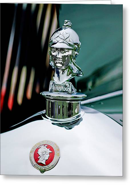 Murphy Greeting Cards - 1929 Minerva Hood Ornament Greeting Card by Jill Reger